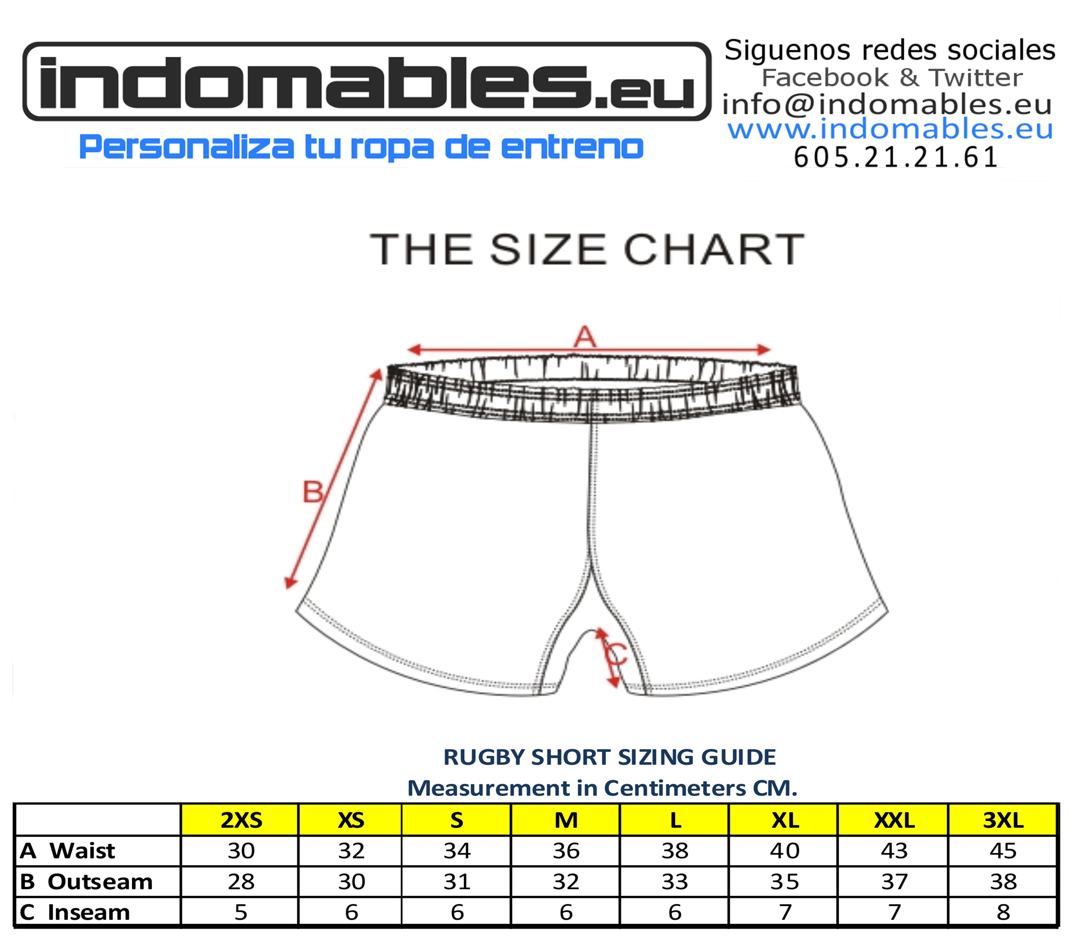 Rugby Short Size Chart 2
